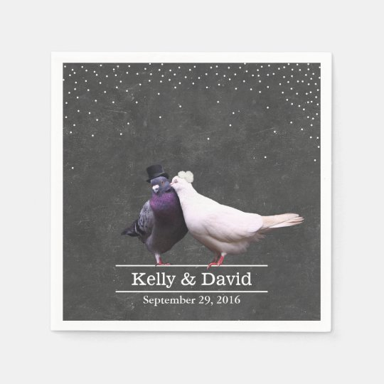 Vintage Love Birds Confetti Chalkboard Wedding Disposable Napkin