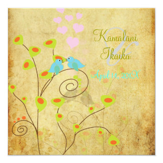Vintage Love birds, faux parchment background.. Card