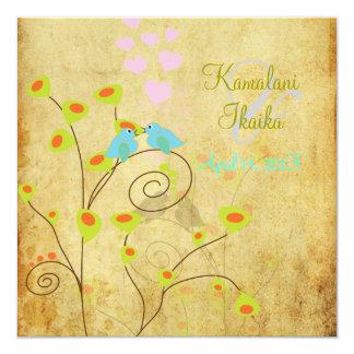 """Vintage Love birds, faux parchment background.. 5.25"""" Square Invitation Card"""