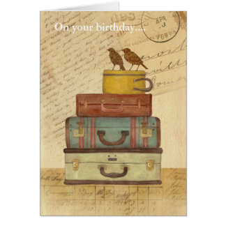 Vintage Love Birds Folded Birthday Card