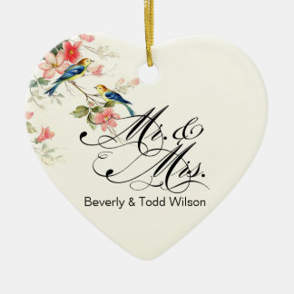Vintage Love Birds Mr. & Mrs. | white PHOTO Christmas Ornament
