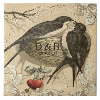 Vintage Love Birds Nest French Decor Wedding Date Large Square Tile