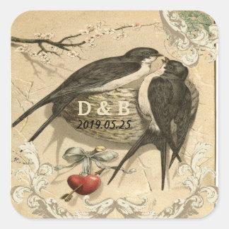 Vintage Love Birds Nest French Decor Wedding Date Sticker