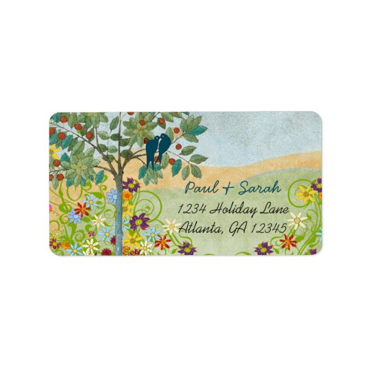 Vintage Love Birds Romantic Tree Damask Hills Label