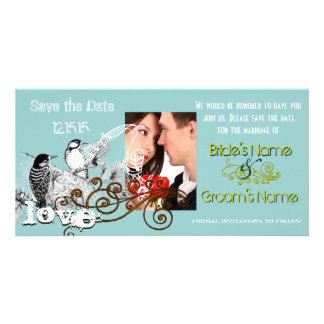 Vintage Love Birds Save the Date  Your Photo Customized Photo Card