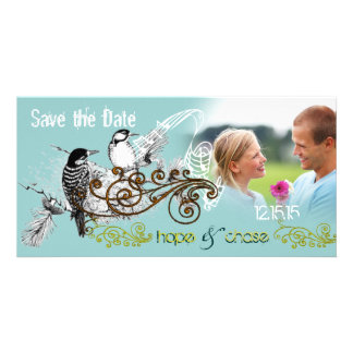 Vintage Love Birds Save the Date  Your Photo Personalised Photo Card
