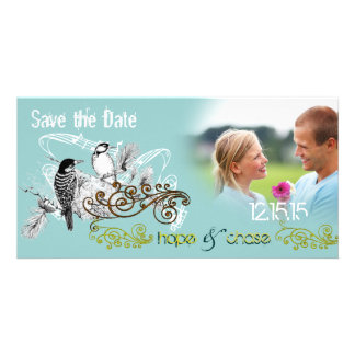 Vintage Love Birds Save the Date  Your Photo Personalized Photo Card