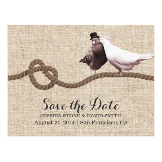 Vintage Love Birds & Twine Knot Save the Date Postcard