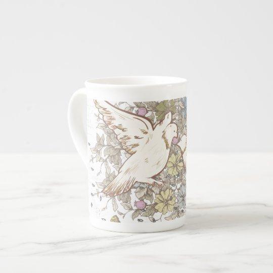 Vintage Love Birds, Two White Doves Floral Tea