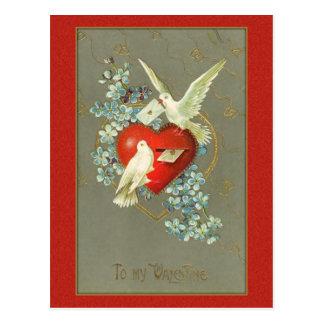 Vintage Love Birds Valentine Postcard