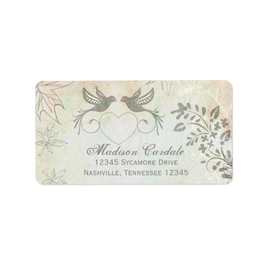 Vintage Love Birds Wedding Return Address Labels