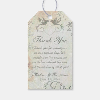 Vintage Love Birds Wedding Thank You Favor Tags