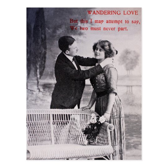 Vintage love couple black and white postcard