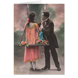 Vintage love couple greeting card