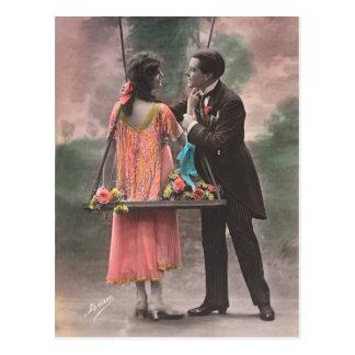 Vintage love couple postcard