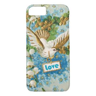 Vintage Love dove blue white flowers iPhone 7 Case