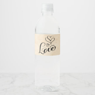 Vintage Love Hearts Brown Grunge Wedding Water Bottle Label