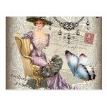 vintage love letter Vintage Paris Lady Fashion Post Card
