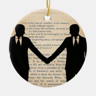 Vintage Love & Marriage Gay Wedding Longfellow Round Ceramic Decoration