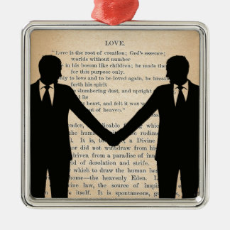 Vintage Love & Marriage Gay Wedding Longfellow Silver-Colored Square Decoration