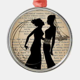 Vintage Love & Marriage Lesbian Wedding Longfellow Christmas Ornament