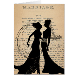 Vintage Love & Marriage Lesbian Wedding Longfellow Greeting Card