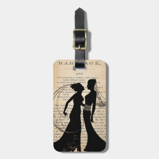 Vintage Love & Marriage Lesbian Wedding Longfellow Luggage Tag
