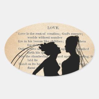 Vintage Love & Marriage Lesbian Wedding Longfellow Oval Sticker
