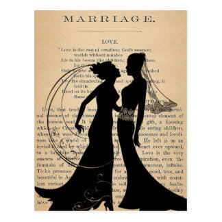 Vintage Love & Marriage Lesbian Wedding Longfellow Postcard