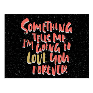 Vintage Love Note Forever Quote Red And Black Postcard