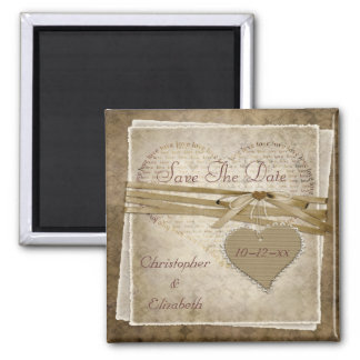 Vintage Love Paper & Heart Save The Date Wedding Square Magnet