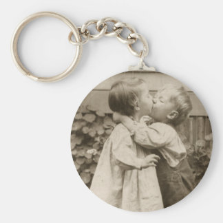 Vintage Love Photo of Children Kissing in a Garden Key Ring