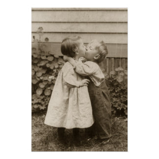 Vintage Love Photo of Children Kissing in a Garden Poster