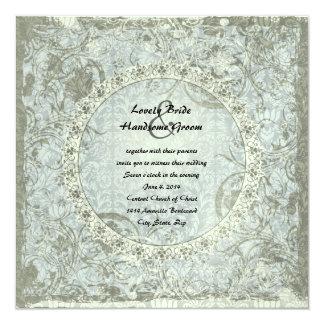 Vintage Love Poem Blue Gray Damask Wedding Invite