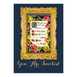 Vintage Love Poem With Flowers 13 Cm X 18 Cm Invitation Card