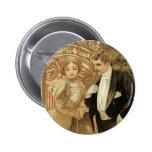 Vintage Love Romance, Art Nouveau, Alphonse Mucha Button