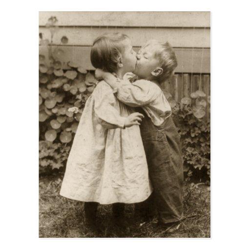 Vintage Love Romance, Children Kissing, First Kiss Post Card