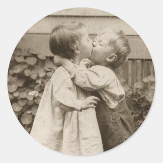 Vintage Love Romance, Children Kissing, First Kiss Round Sticker