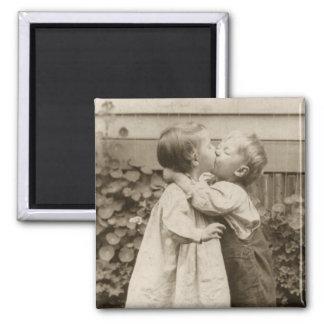 Vintage Love Romance, Children Kissing, First Kiss Square Magnet