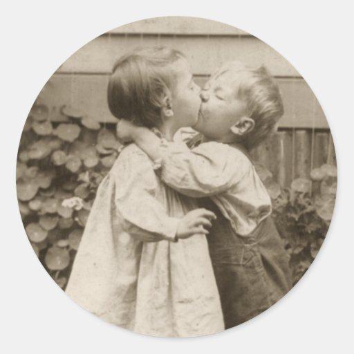 Vintage Love Romance, Children Kissing, First Kiss Sticker