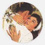 Vintage Love Romance, Couple in a Loving Embrace Round Sticker