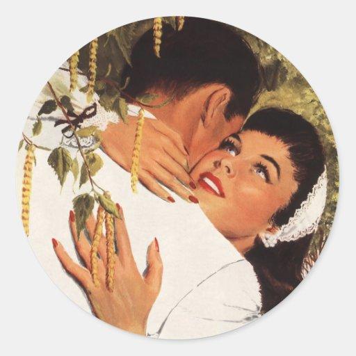 Vintage Love Romance, Couple in a Loving Embrace Sticker