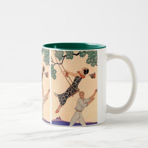 Vintage Love Romance, Escarpolette Swing Barbier Mugs