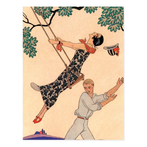 Vintage Love Romance, Escarpolette Swing Barbier Postcards