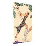 Vintage Love Romance, Escarpolette Swing Barbier Stretched Canvas Print