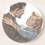 Vintage Love Romance Newlyweds Shall We Dance? Drink Coaster