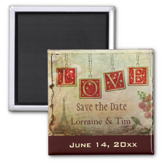 Vintage love Save the Date Square Magnet