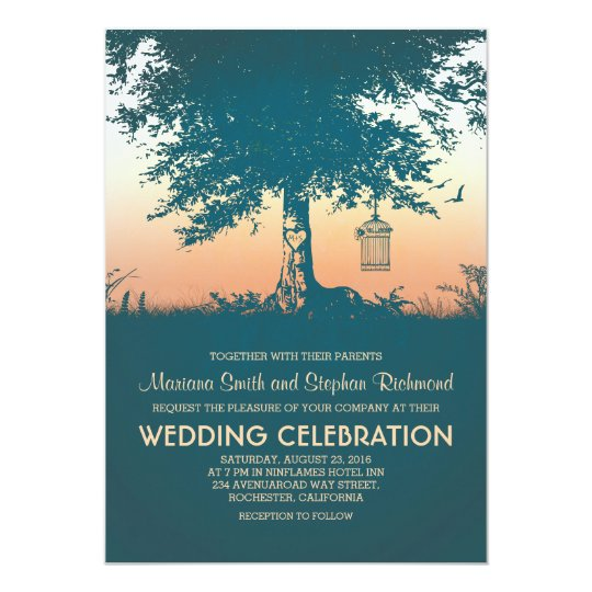 Vintage Love Tree Rustic Wedding Invites