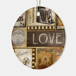 Vintage Love Woman Cinema Christmas Ornament