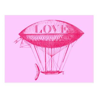 Vintage Love Zeppelin Pink Postcard